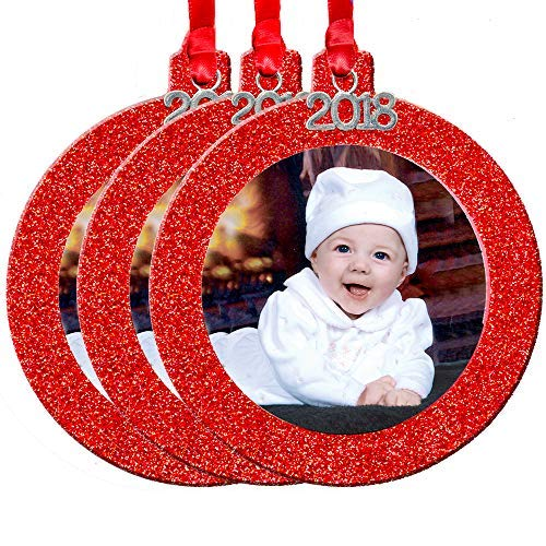 - 2018 Magnetic Glitter Christmas Photo Frame Ornaments with Non Glare Photo Protector, Round 3-Pack - Red