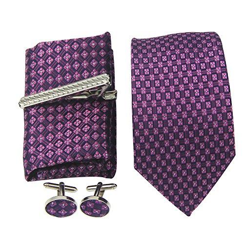 Men's tie business models, high-end gift box set of 4, low-cost casual men's tie: tie + cufflinks + square towel + tie clip. (B3) -