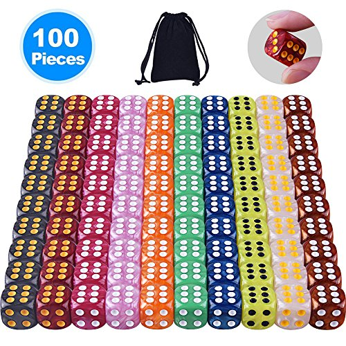 Austor 100 Pieces 6-Sided Game Dice Set (Free Pouch), 10 Pearl Colors Rounded Edges Dices for Tenzi, Farkle, Yahtzee, Bunco or Teaching Math Bunco Dice Set