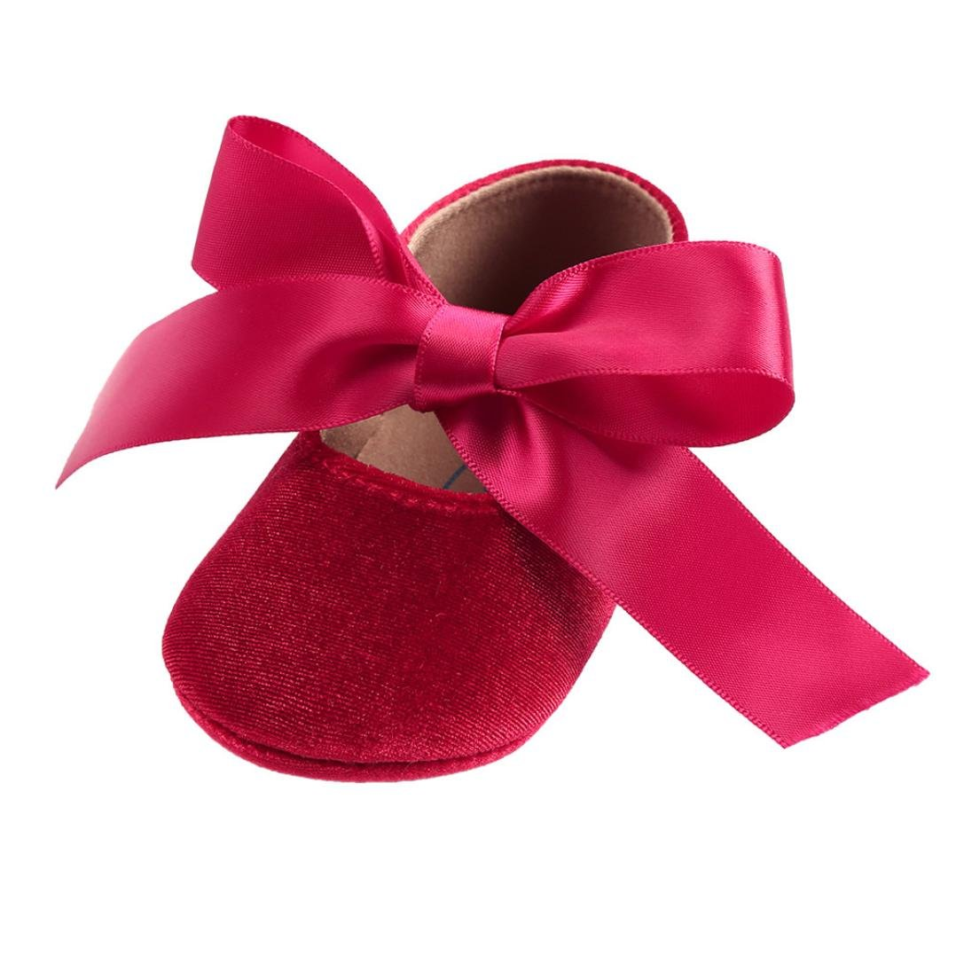 Voberry Baby Girls Velvet Mary Jane with Bowknot Princess Dress Shoes Soft Sole Crib Shoes Gold