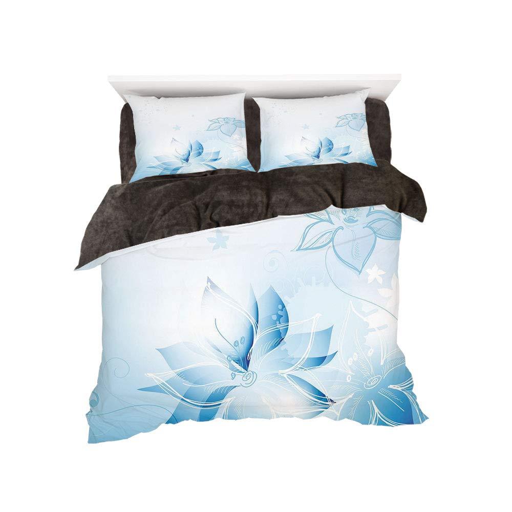 iPrint フランネル布団カバー4点セット ベッドリネン 冬休み柄 ライトブルー アーティスティック 手描き 水仙 マジカル ファンタジー フローリッシュ ディスプレイ ソフト ドリーミー装飾 ライトブルー ホワイト bed width 4ft(120cm) BotingFLR_hei_12141_twin 120 B07L1WM5V4 カラー1 bed width 4ft(120cm)