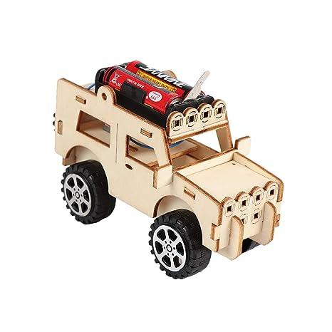 Toyvian Juego de construcción de carros de Madera Woodcraft Toy Modelo de Madera Puzzle de Madera