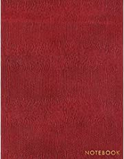 Notebook: Deep Red Snake Skin Style - Embossed Gold Style Lettering - Softcover | 150 College-ruled Pages | 8.5 x 11 size