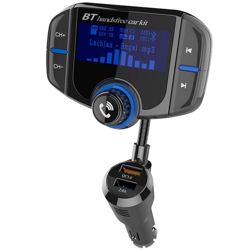 Transmetteur FM Bluetooth 4.2 TOTOBAY Kit de Voiture Sans Fil Mains Libre Adaptateur Radio Chargeur de Voiture avec É cran d' Affichage 1.7 Pouces Double USB Ports QC3.0 & 2.4A