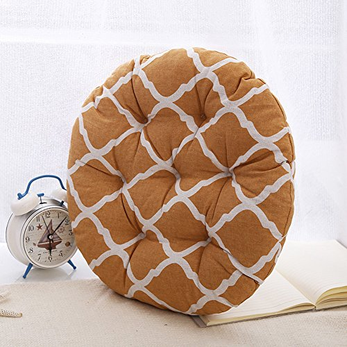 MEMORECOOL LIGHT UP YOUR HOME Modern Simple Round Floor Cushion, Futon Round Seat Cushion Window Pad Chair Cushion Sofa Pillow 23 Inch, Ginger Rhombus Set of 2 by MEMORECOOL LIGHT UP YOUR HOME