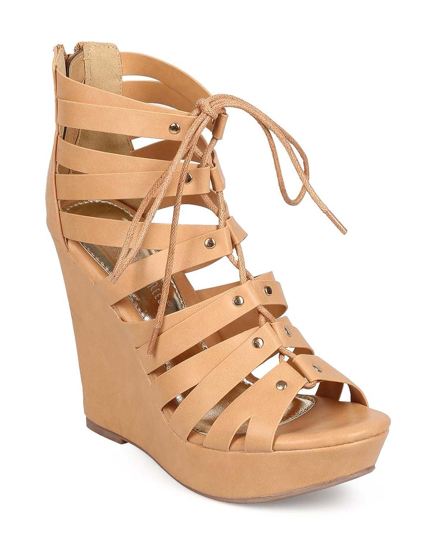 Women Leatherette Peep Toe Lace up Gladiator Wedge Sandal EC98 - Beige B01CPVPLBO 8 M US