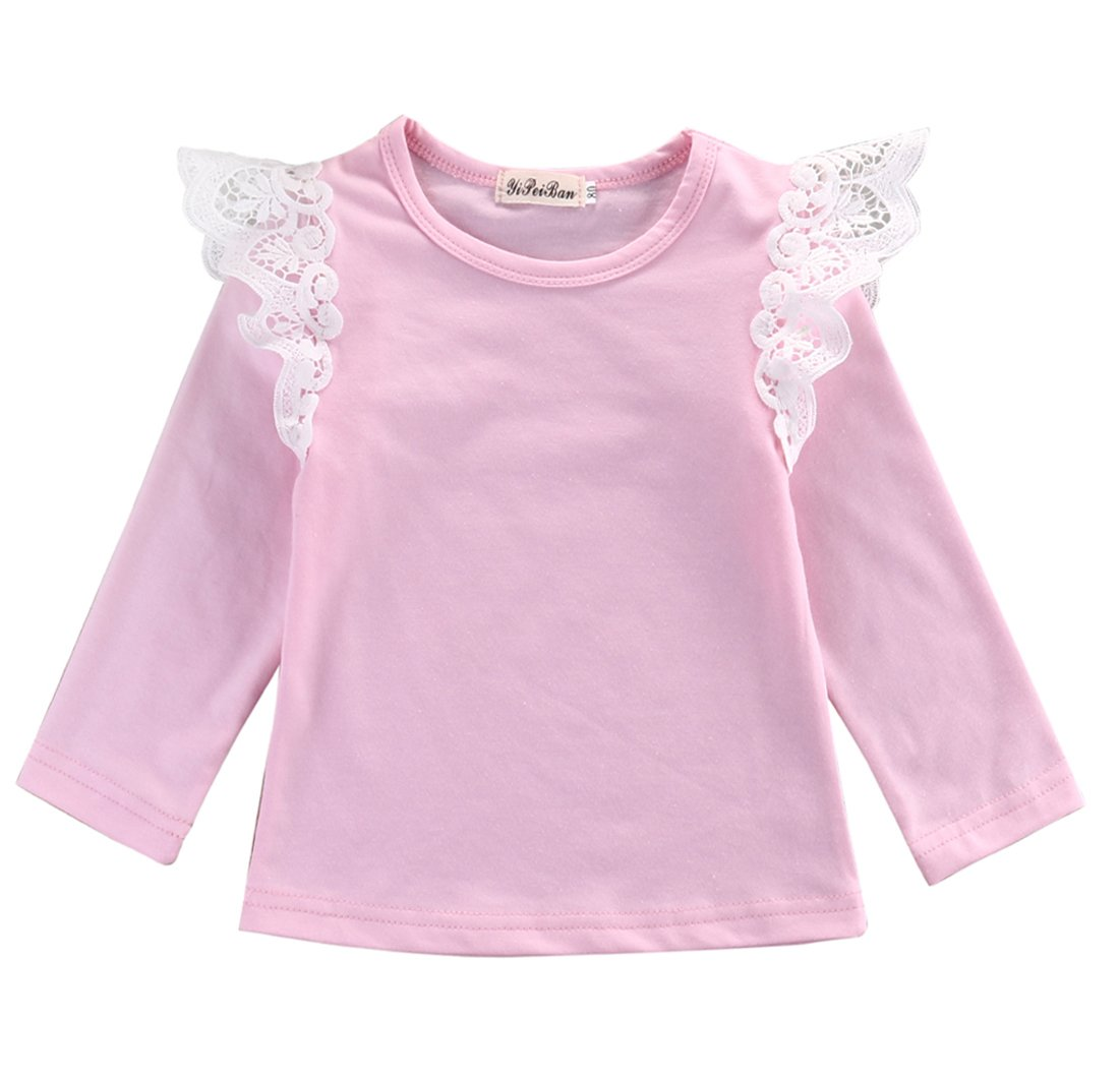 Baby Girl Lace Ruffle Long Sleeve Crochet Cotton Solid Basic Tee