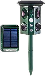 Gold Label Solar Power Ultrasonic Outdoor Waterproof Animal Repeller | Solar & Battery-Powered Pest Repellent Stakes with LED Lights & PIR Sensor | Repel Mole, Chipmunk, Gopher, Raccoon, Rabbit