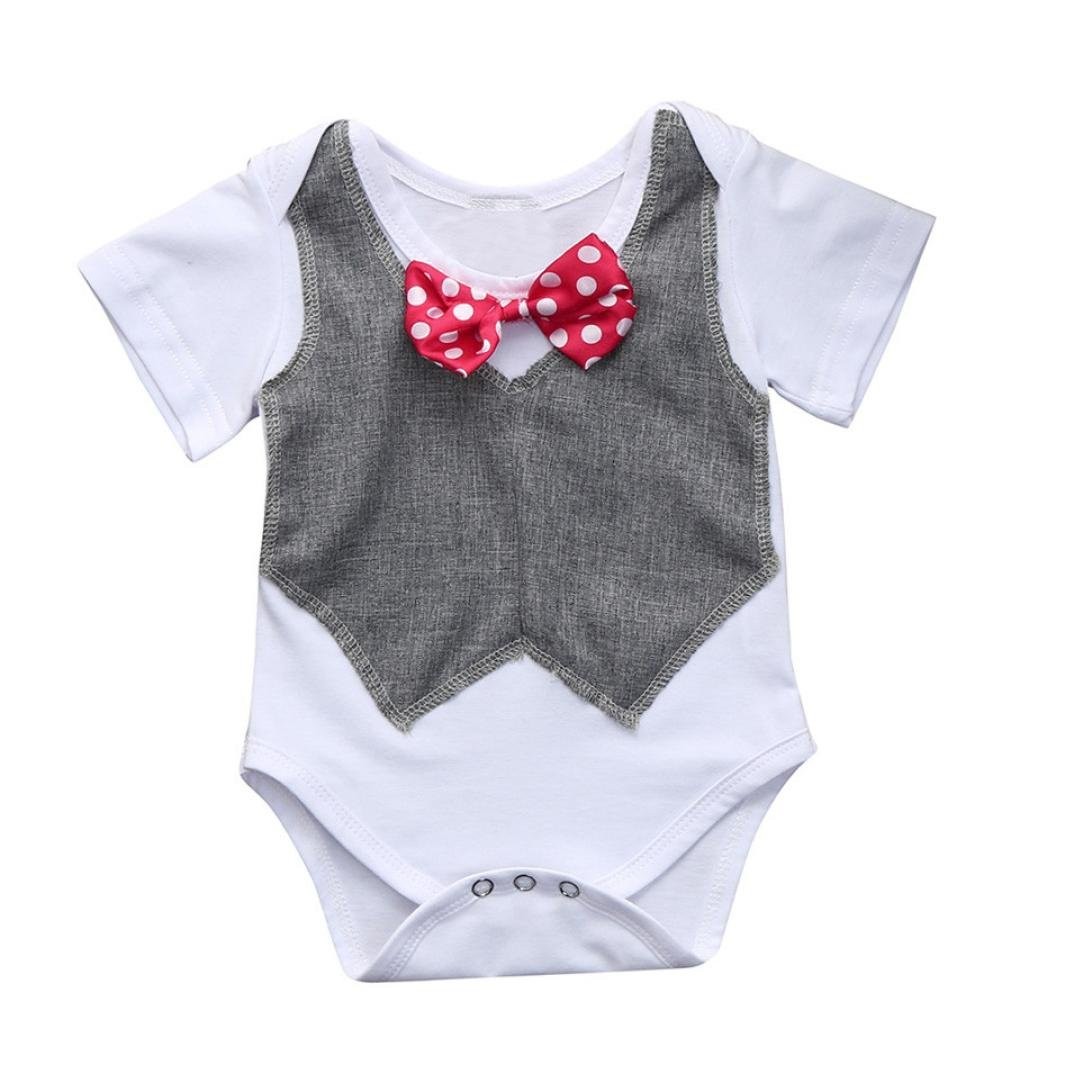 Sunbona Toddler Baby Boys Gentleman Patchwork Bow Tie Short Sleeve Romper Jumpsuit Outfits Clothes (Gray, 3M(0~3months))