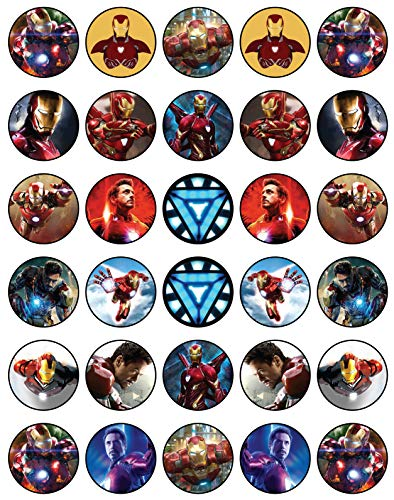 - 30 x Edible Cupcake Toppers - Avengers Iron Man Themed Collection of Edible Cake Decorations   Uncut Edible Prints on Wafer Sheet