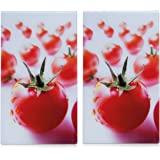 Zeller 26270 - Tabla para cortar de cristal, 2 unidades, 52 x 30 cm, diseño tomate