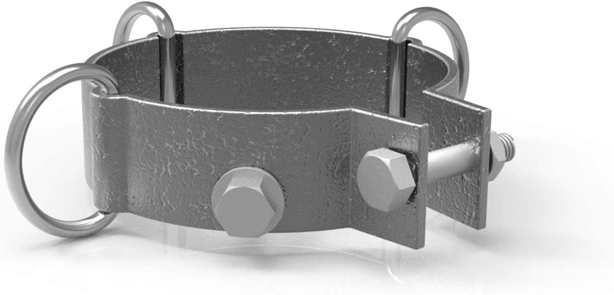 Windscreen4less D-ring Clamp for Sun Shade Sail Pole Accessories,Shade Sail Stand Post,Awning Support Poles,Canopy support Pole,Strengthen,Heavy-duty support-steel - gray