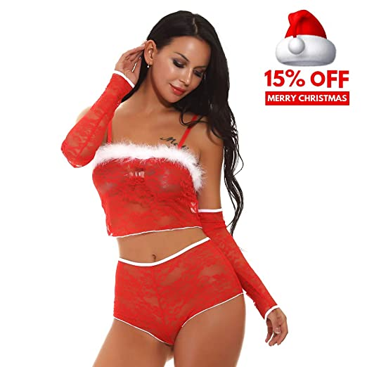 876c3a9a5bfd9 Women Lace Sexy Lingerie Set See Through Open Lingerie with Sleeves ...
