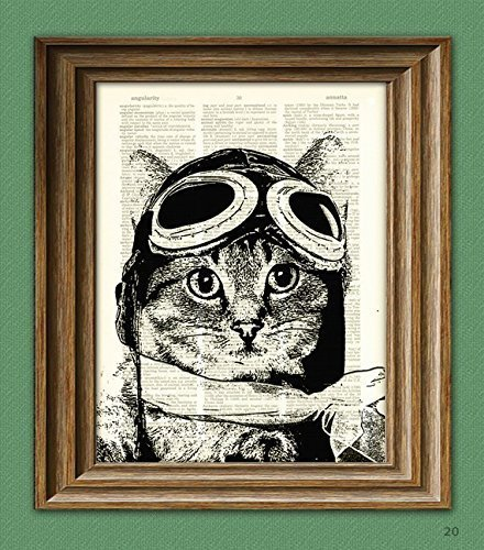 Captain Kitty Ace Aviator Cat altered art dictionary page illustration book print