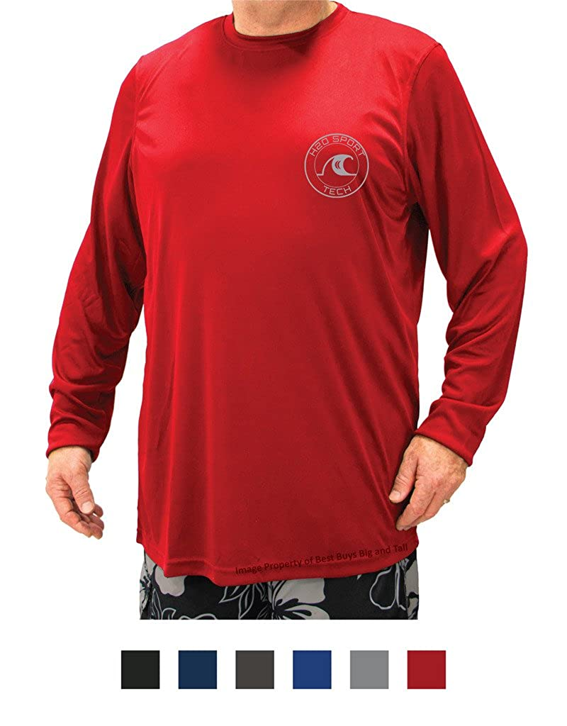 H2O Sport Tech Big & Tall Men's Long Sleeve Swim Shirt - Loose Fit