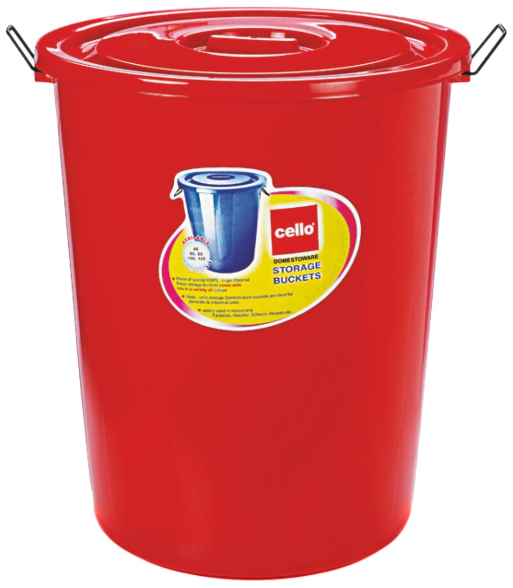 Cello Plastic Storage Bucket With Lid, Red, 100 Litre