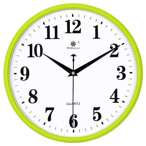 AIZIJI Reloj de pared dibujo creativos modernos relojes de cuarzo silencio círculo calendario electrónico Home reloj
