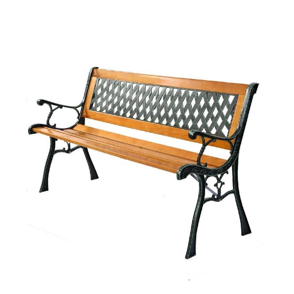 Sgood Seat Sunshine Cast Iron Hardwood Park Patio Relax Deck Path Chair Bench Porch Sit Backyard