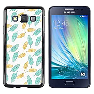 LECELL--Funda protectora / Cubierta / Piel For Samsung Galaxy A3 SM-A300 -- Painted Teal Wallpaper Green --