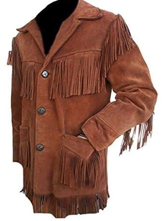 New York Leather Men Fringe Brown Suede Jacket At Amazon Men S
