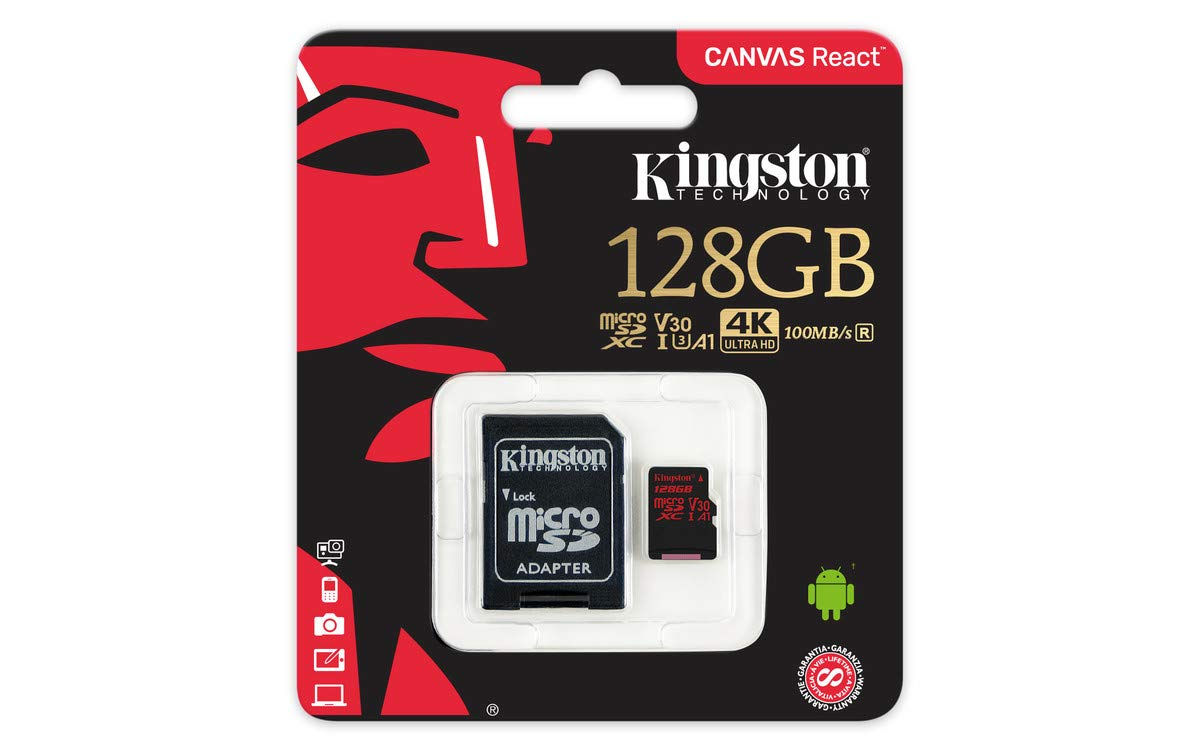 Kingston Canvas React 128GB microSDXC Class 10 microSD Memory Card UHS-I 100MB/s R Flash Memory High Speed microSD Card with Adapter (SDCR/128GB)