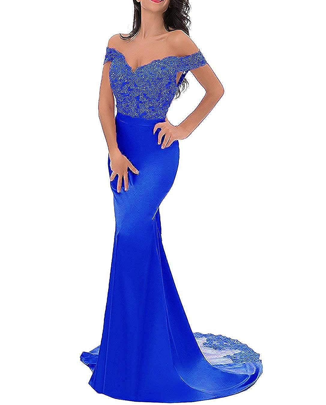 Royal bluee PearlBridal VNeck Off Shoulder Mermaid Bridesmaid Dresses Lace Long Evening Formal Gown