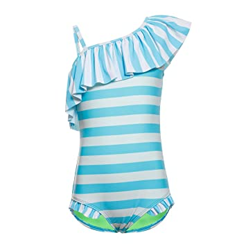 Dayu Girls Kids Swimsuit Kids Ruffle Stars Tropical Swimwear Summer