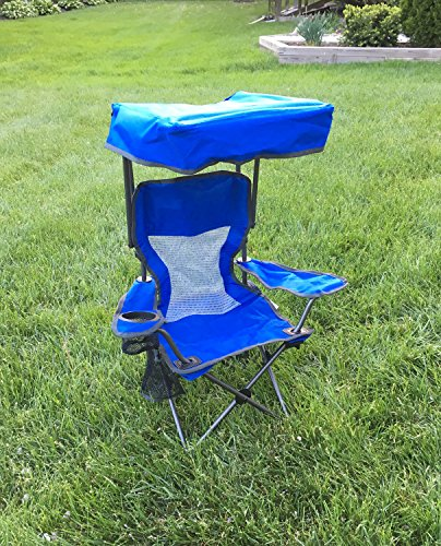 Timber Ridge Kid's Folding Chair with Canopy and Durable Carry Bag Blue