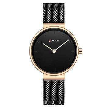 WZFCSAEAE Reloj Azul Mujer Relojes de Lujo Marca de Acero Señoras de Cuarzo Mujer Relojes 2018 Deporte Relogio Feminino Montre Femme, Negro Oro Negro: ...