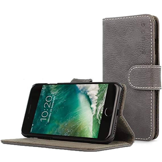 best sneakers ab8fc 72454 Snugg iPhone 7 and 8 Case Apple iPhone Flip [Card Slots] Leather Wallet  Cover Design in Shark Skin Grey, Legacy Range