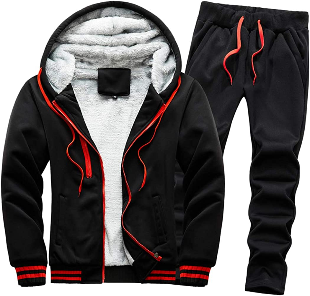 Mens Tracksuit Set Fleece Lined Hoodie Top /& Bottoms Casual Joggers Gym Outfits