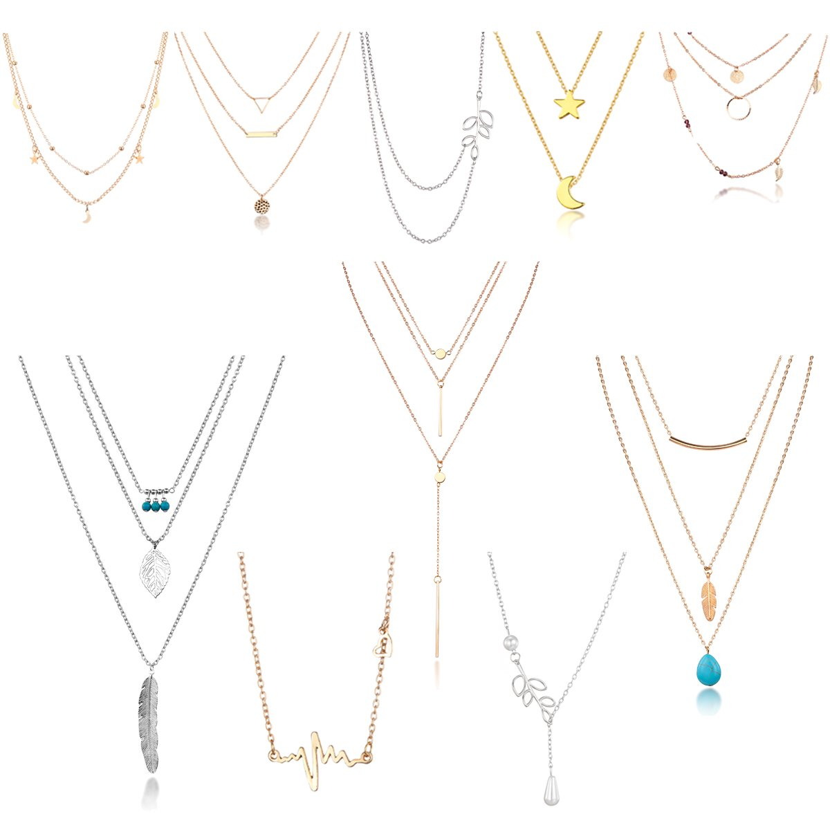 HYZ Boho 10pcs Layered Necklace Pendant Moon Star Turquoise Feather Olive Leaf Heartbeat Coin Chain Girls Women Mother Jewelry Set