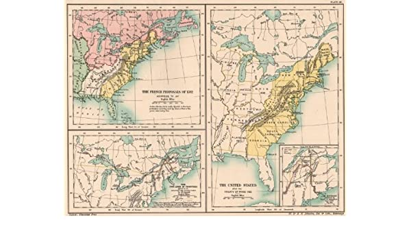 Treaty Of Paris Map 1783.Amazon Com Usa Treaty Of Paris 1783 French Proposals 1782 Canada