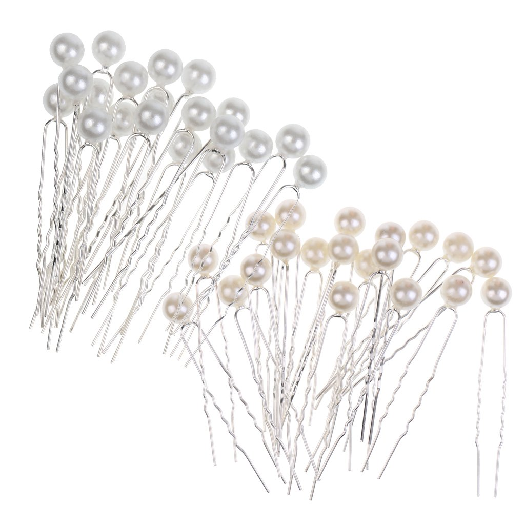 MonkeyJack 40 Pieces Wholesale Luxury Pearl Hair U Shaped Pins Clips Bridesmaids Lady Elegant Fancy Jewelry Party Hair Jewelry