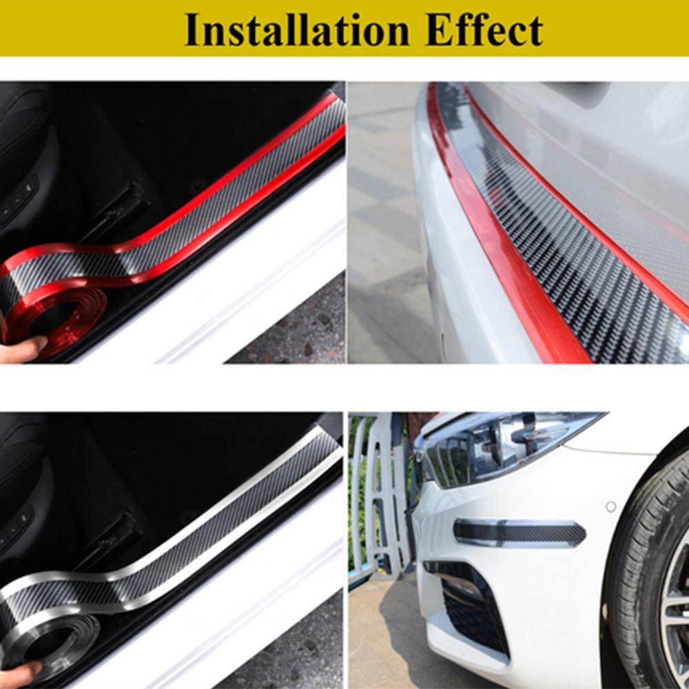 styleinside Car Door Sill Strip Carbon Fiber Rubber Styling Car Door Sill Protector Bend Freely Anti-Scratch fit for Most Car,1#