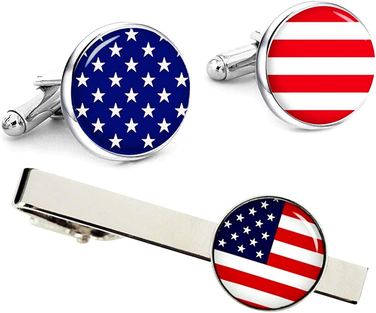 Kooer American Flag Cuff Links Flag of The United States Cufflinks for Men
