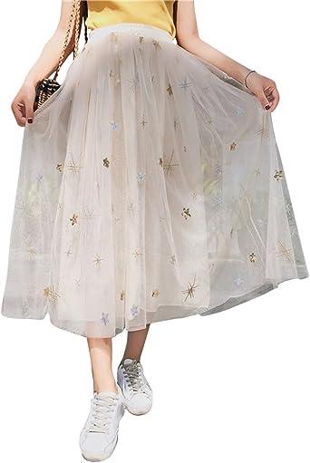 DianShaoA Femme Elegant Longue Taille Haute Plage Jupe Tulle