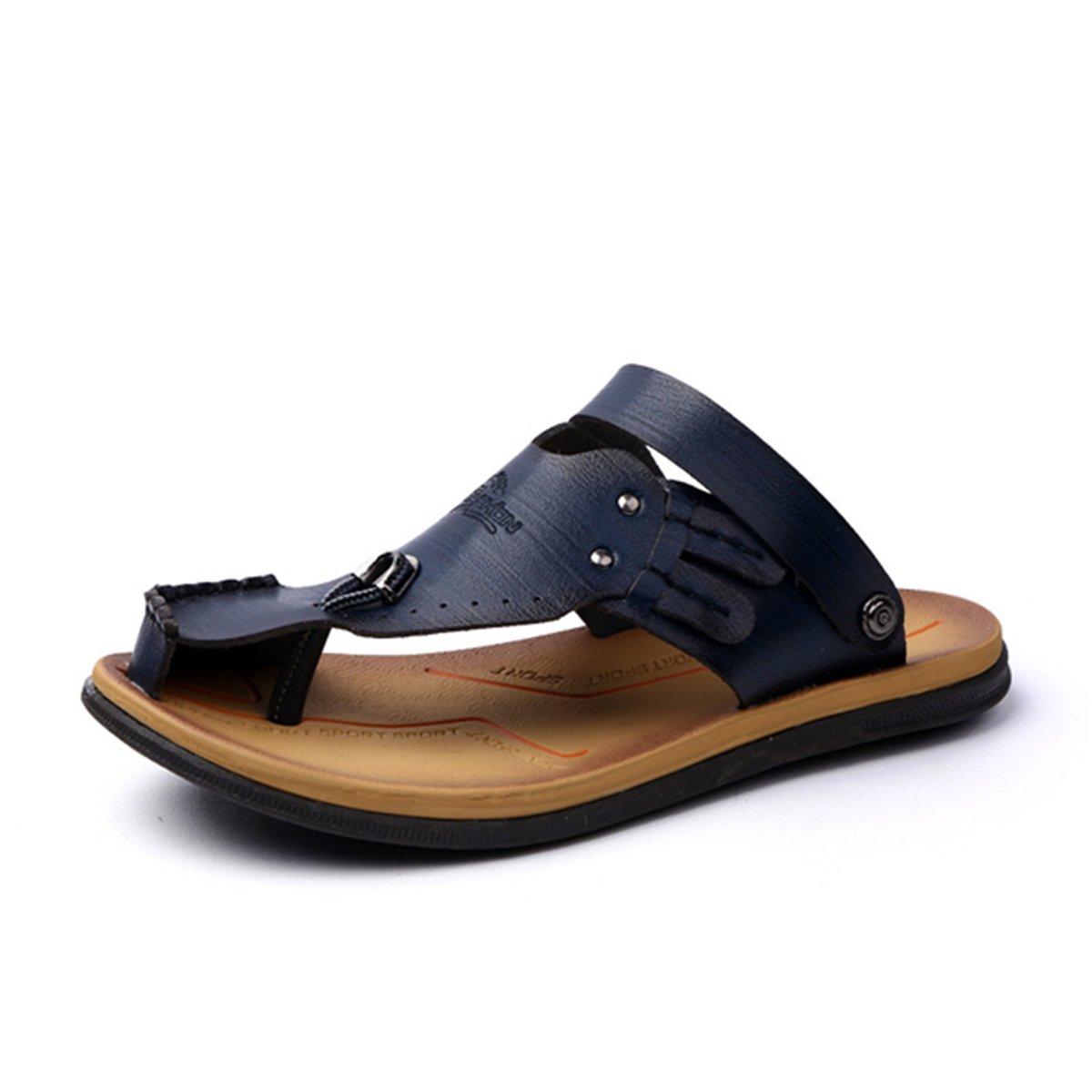 Gracosy Flip Flops, Unisex Zehentrenner Flache Hausschuhe Pantoletten Sommer Schuhe Slippers Weich Anti-Rutsch T-Strap Sandalen fuuml;r Herren Damenr  39 EU|Blau-c