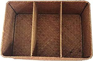 Cabilock Hand-Woven Basket Seagrass Seaweed Woven Storage Box 3-compartments Desktop Organizer Case for Home Bathroom Office Decor 32x22x11cm (Yellow)