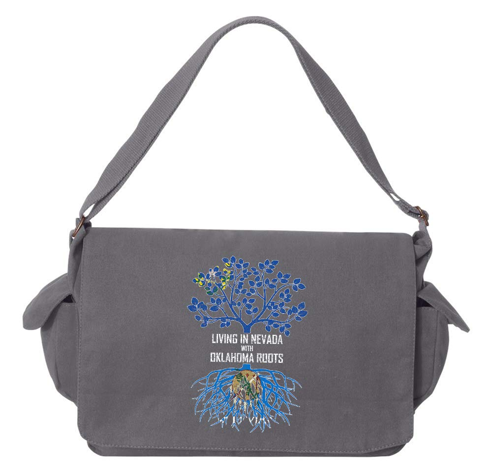 Tenacitee Living In Nevada with Oklahoma Roots Grey Brushed Canvas Messenger Bag