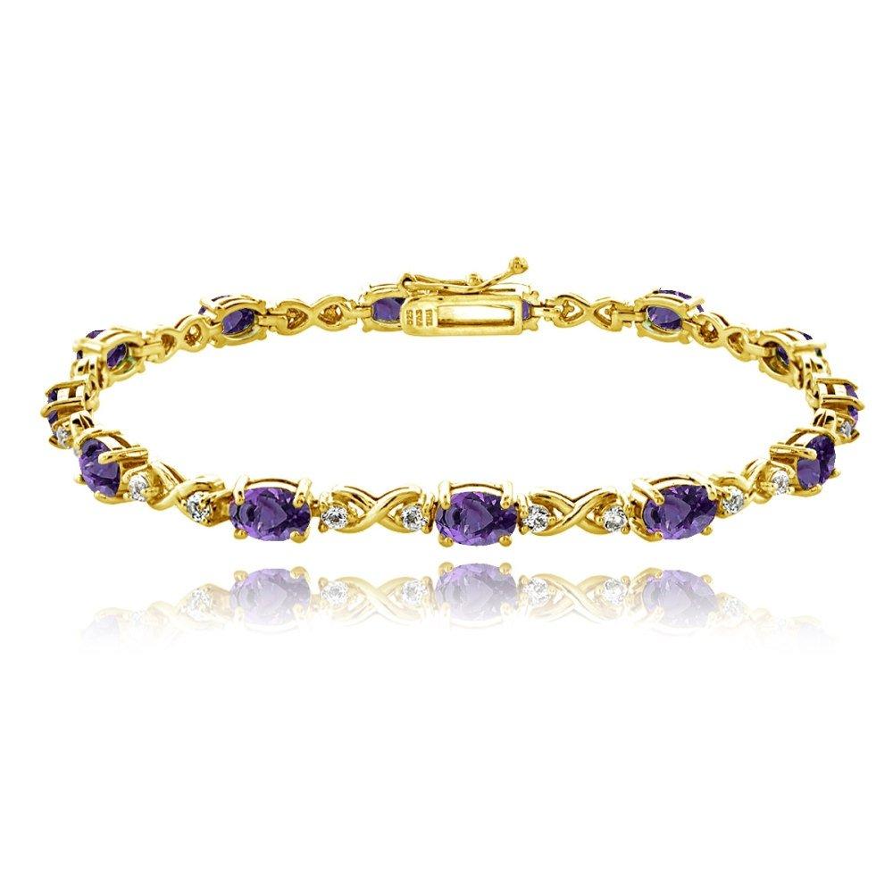 作成されたスターリングシルバー、本物、または模造宝石6 x 4 mmオーバルインフィニティブレスレットホワイトトパーズのアクセント B075FCP1K9  African Amethyst - Gold Flashed
