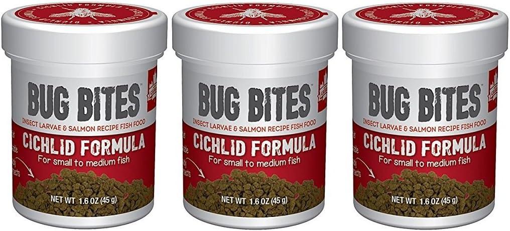 Fluval (3 Pack) Bug Bites Cichlid Formula for Small/Medium Fish (1.6 oz. Per Bottle)