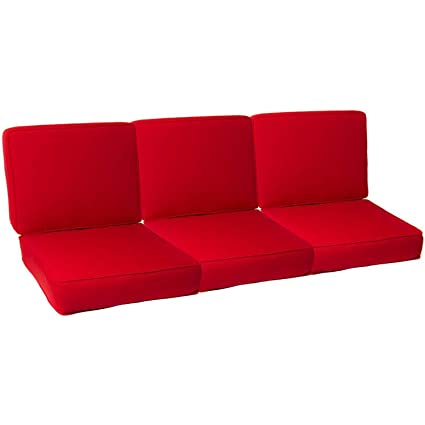 Exceptionnel Ultimatepatio.com Small Replacement Outdoor Sofa Cushion Set With Piping    Canvas Jockey Red