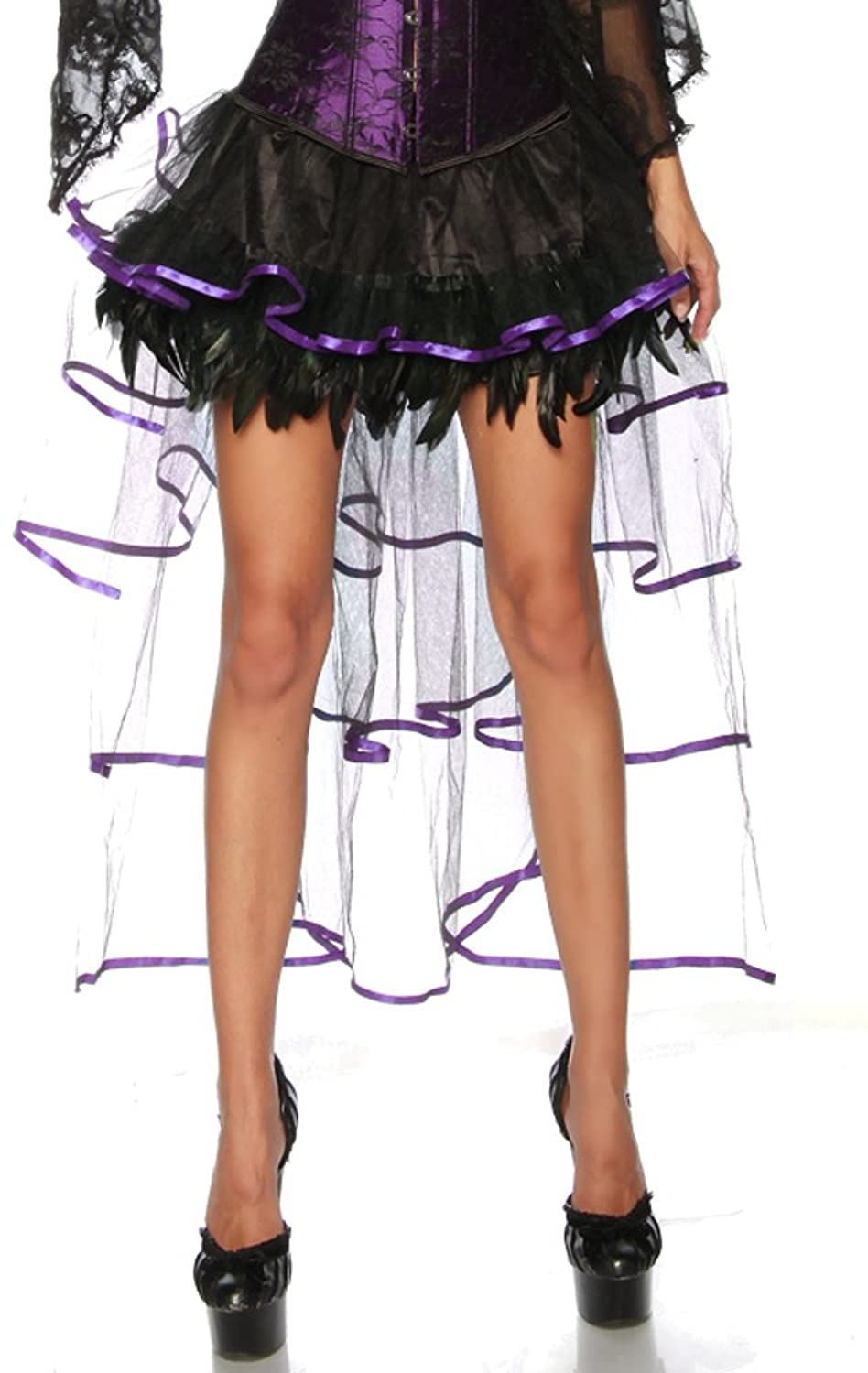 Jowiha ? Burlesque Satin Lace Skirt Flounce & Feathers Size One-Size 2 colours, Black or Purple One Size S-L Black