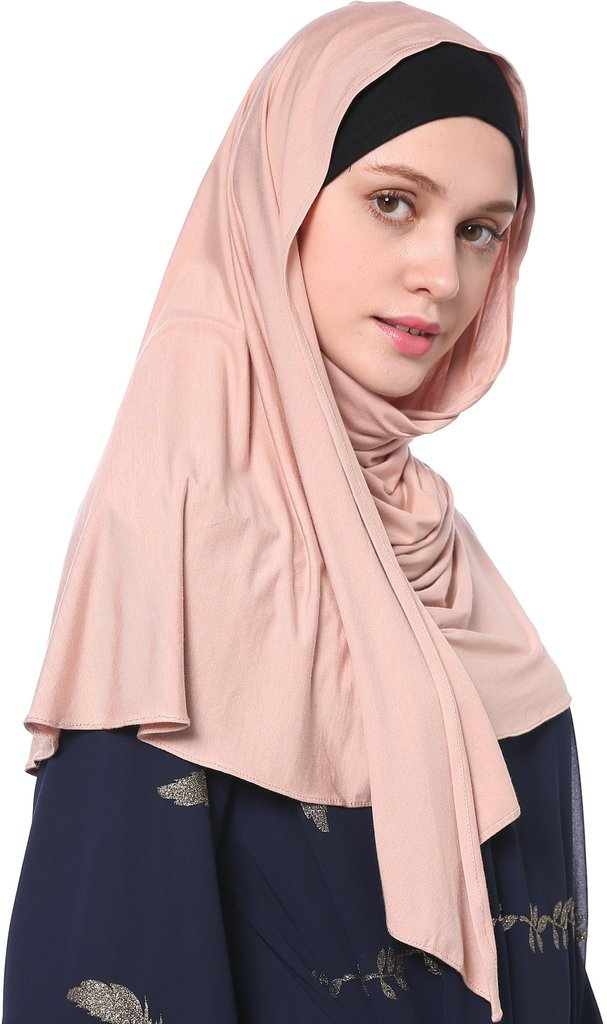 YI HENG MEI Women's Modest Muslim Islamic Soft Solid Cotton Jersey Inner Hijab Full Cover Headscarf,Dark Pink by YI HENG MEI (Image #3)