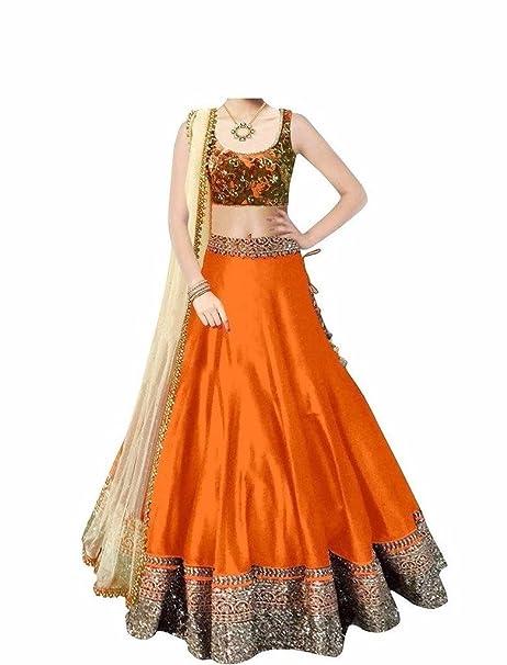 b22370bb5f D H Creation Women's Orange Embroidered Benglory Silk Semi Stitched Lehenga  Choli