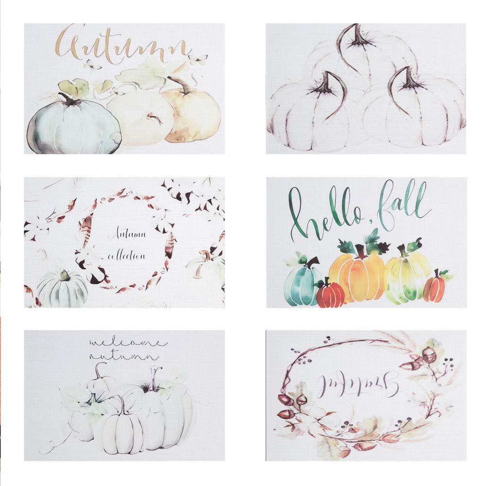 DOLOPL Place Mat Placemats Waterproof Placemats Set of 6 Table Mats Heat Resistant Non Slip Wipeable Placemat for Kitchen Dining Restaurant (Beige) (Multi Picture Pumpkin, Set of 6 Placemats) by DOLOPL