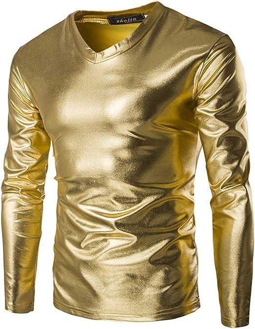Weentop Camisas de Manga Larga con Cuello en V metálico Brillante de Gildingr para Hombre Camisa de Manga Larga Camisa de Ajuste Regular Fiesta Discoteca 3 Colores para Disfraz: Amazon.es: Hogar