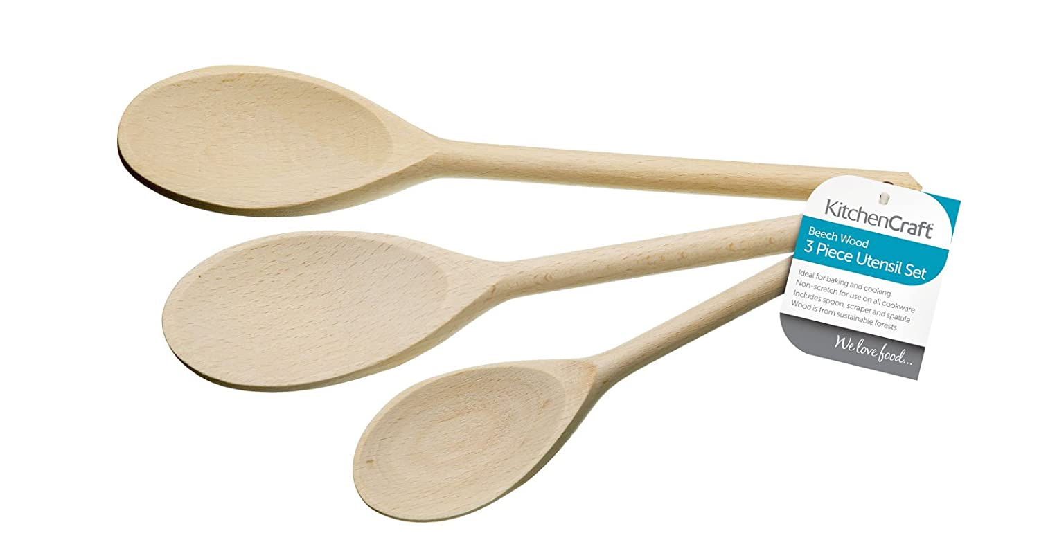 Kitchencraft wooden cooking spoons set of 3 ebay for Wooden kitchen spoons