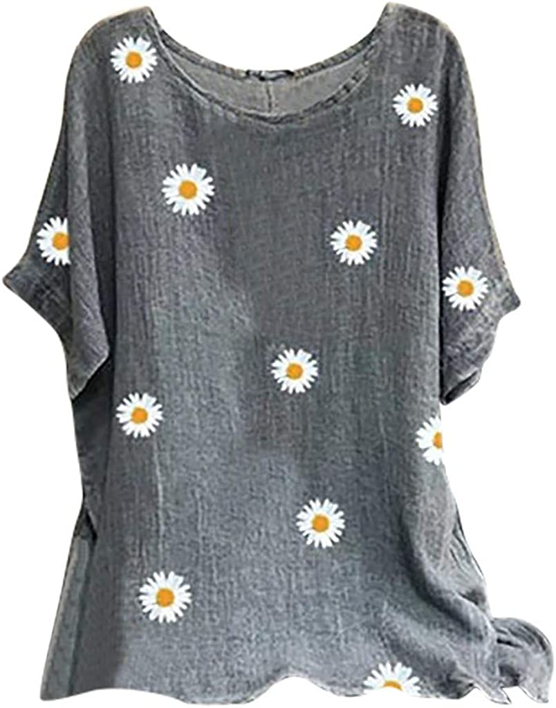 Leaf2you Cotton Linen Blouse for Women Plus Size Short Sleeve Tunic Tops Fashion Daisy Printed Pullover Tops Comfy T-Shirt